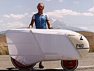 Peter Heish and Lightning F-40 in front of Mt. Shasta